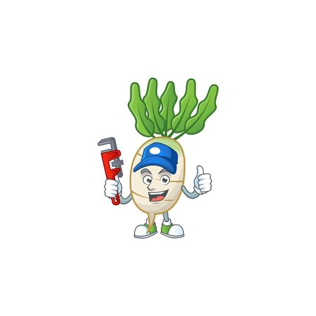Cool Plumber daikon cartoon character mascot design  イラスト・ベクター素材