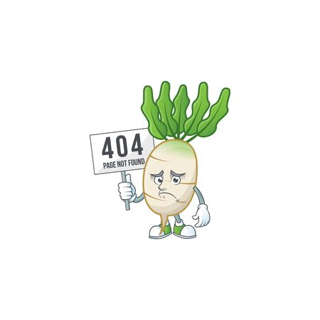 sad face cartoon character daikon raised up a board  イラスト・ベクター素材