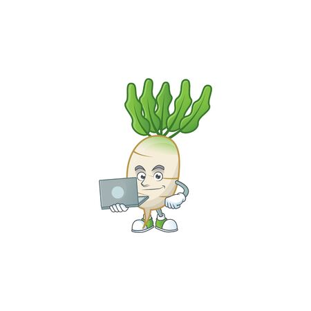 Smart daikon cartoon character working with laptop