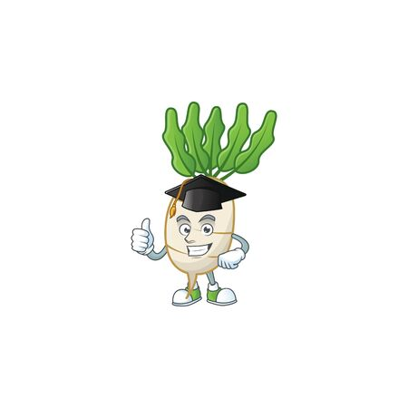 Happy daikon wearing a black Graduation hat