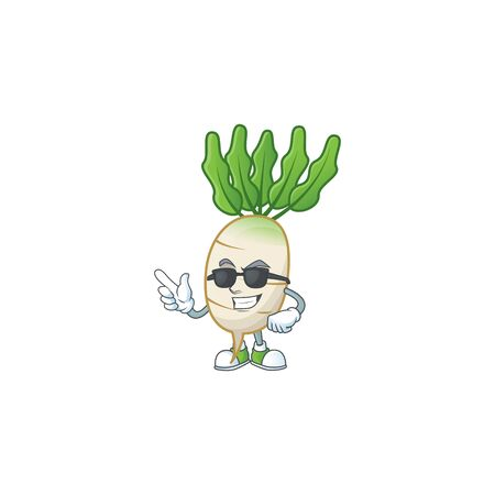 Cool and cool daikon character wearing black glasses  イラスト・ベクター素材