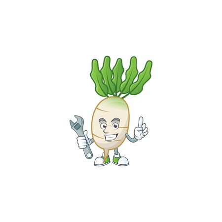 Smart and Professional Mechanic daikon cartoon character