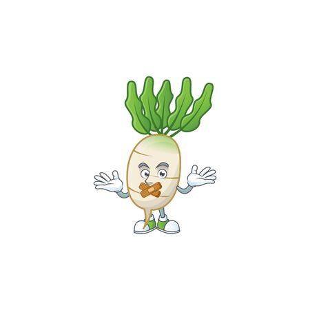 Daikon cartoon character style with silent gesture  イラスト・ベクター素材