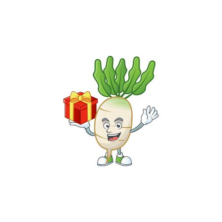 Daikon cartoon character with a box of gift
