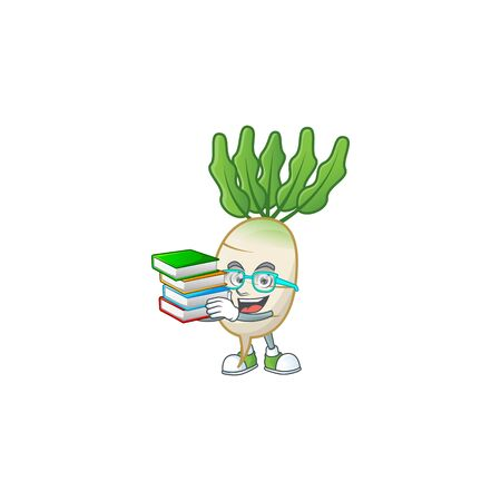 Student with book daikon on mascot cartoon character style  イラスト・ベクター素材