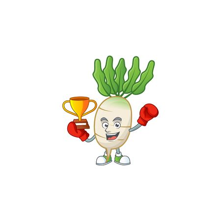 Super cool Boxing winner daikon in mascot cartoon style