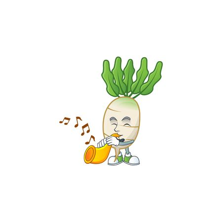 Cheerful daikon cartoon character performance with trumpet  イラスト・ベクター素材
