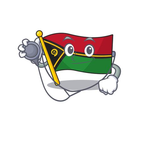 Cute flag vanuatu Scroll cartoon character in a Doctor with tools 矢量图像