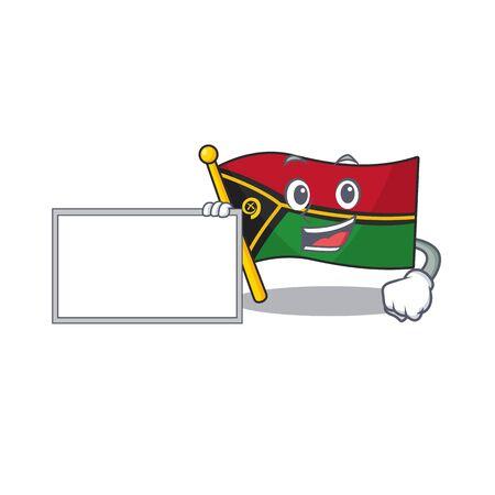 Flag vanuatu Scroll with board cartoon mascot design style