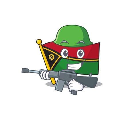 A mascot of flag vanuatu Scroll Army with machine gun