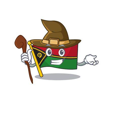 Happy Witch flag vanuatu Scroll cartoon character design