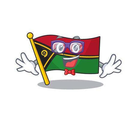 Super Funny Geek flag vanuatu Scroll cartoon character design 矢量图像