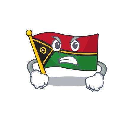 angry face flag vanuatu Scroll cartoon character design Illustration