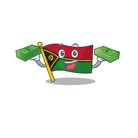 Very happy flag vanuatu Scroll character with money on hands Illustration