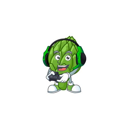 mascot icon of artichoke with headphone and controller Illustration