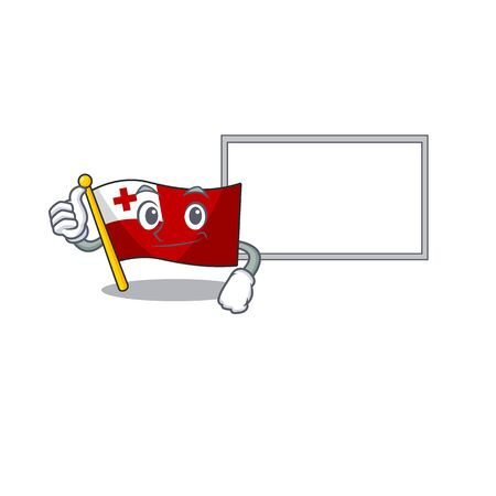 Flag tonga Scroll cartoon character Thumbs up with board