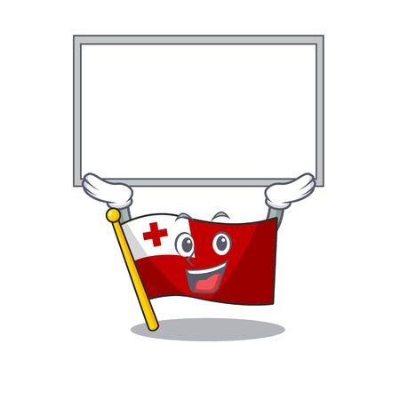 Happy cartoon character flag tonga Scroll raised up board