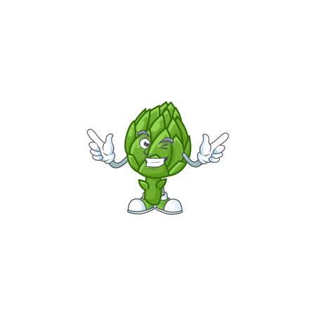 Funny artichoke cartoon character style with Wink eye