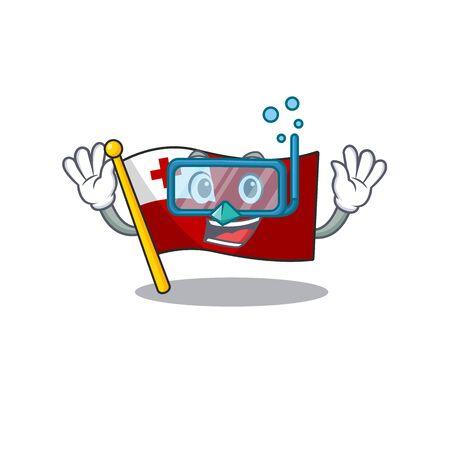 Cartoon Mascot featuring flag tonga Scroll wearing Diving glasses Çizim