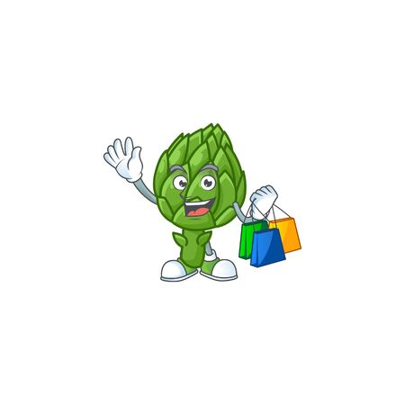 Cheerful artichoke mascot waving and holding Shopping bags Illustration