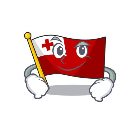 Cool flag tonga Scroll mascot character with Smirking face