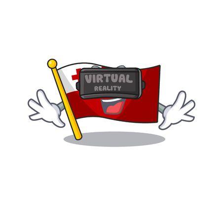 cool flag tonga Scroll character using Virtual reality headset