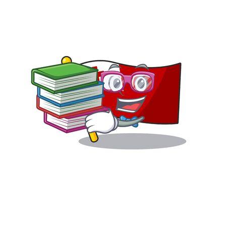Smart Student flag tonga Scroll mascot cartoon with book