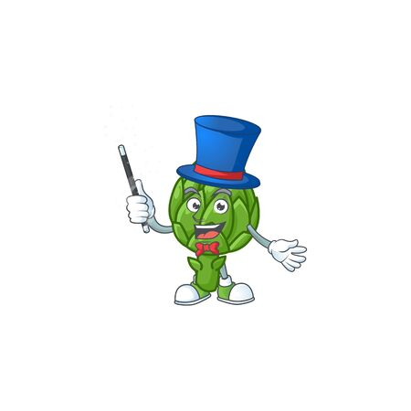 Cartoon character of artichoke performance as a Magician. Vector illustration Illustration