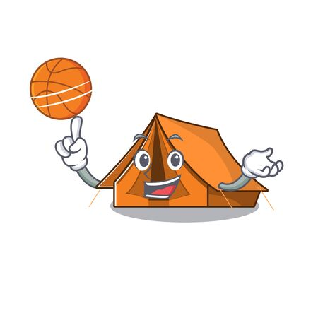 An icon of camping tent Scroll cartoon character playing basketball