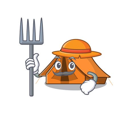 Happy Farmer camping tent Scroll cartoon character with hat and tools
