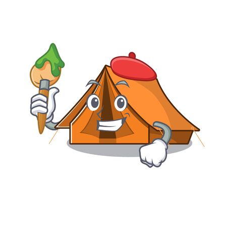 Funny camping tent Scroll Artist cartoon character holding brush