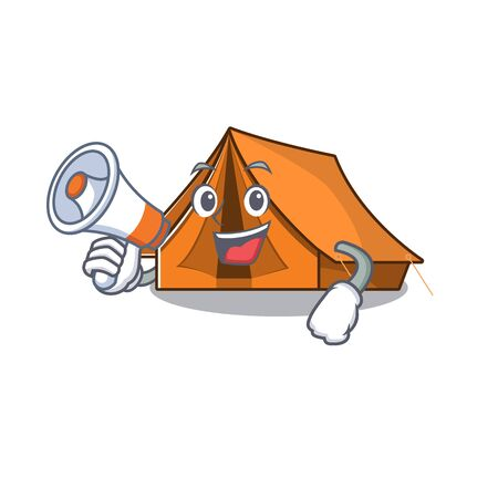 Camping tent Scroll holding a megaphone