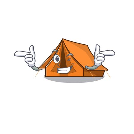 Camping tent Scroll mascot cartoon design with Wink eye