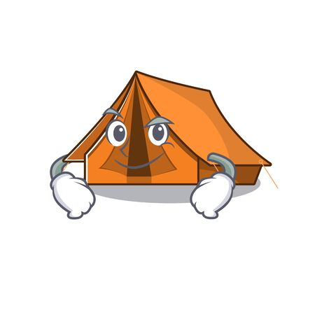 Cool camping tent Scroll mascot character with Smirking face