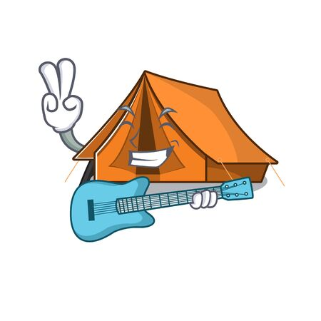 Supper cool camping tent Scroll cartoon performance with guitar Illustration