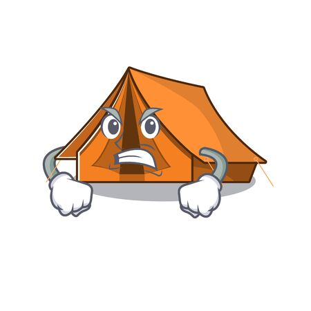 angry face camping tent Scroll cartoon character design