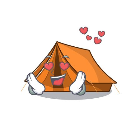 falling In love cute camping tent Scroll cartoon mascot design