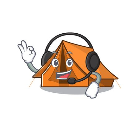 cute camping tent Scroll cartoon character design wearing headphone Illustration