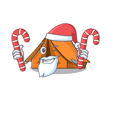 Happy camping tent Scroll Cartoon character in Santa with candy