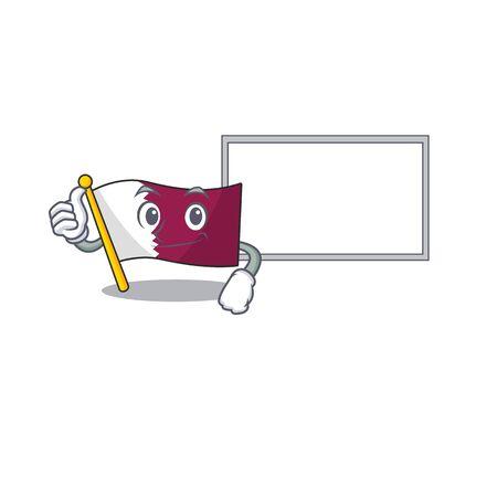 Flag qatar Scroll cartoon character Thumbs up with board