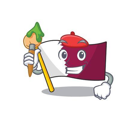 Funny flag qatar Scroll Artist cartoon character holding brush. Vector illustration