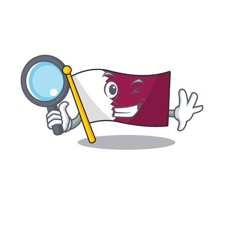 Smart flag qatar Scroll Detective cartoon character design Çizim