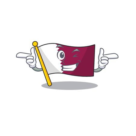 Flag qatar Scroll mascot cartoon design with Wink eye