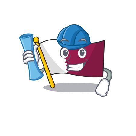 Cheerful Architect flag qatar Scroll with blue prints and blue helmet