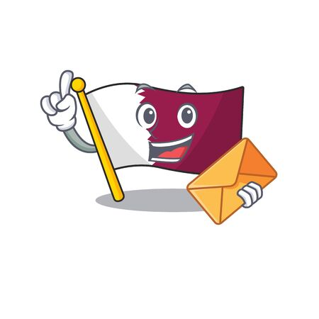 Happy face flag qatar Scroll mascot design with envelope Çizim