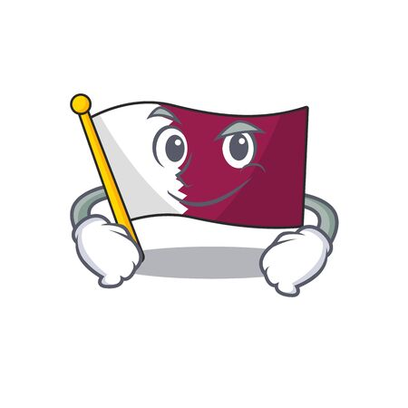 Cool flag qatar Scroll mascot character with Smirking face Çizim