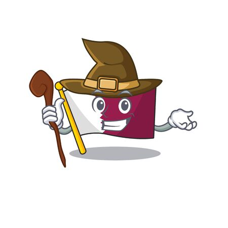 Happy Witch flag qatar Scroll cartoon character design