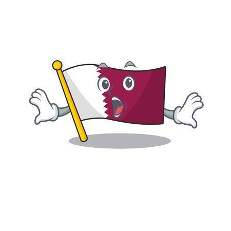 Flag qatar Scroll Surprised gesture on cartoon character style
