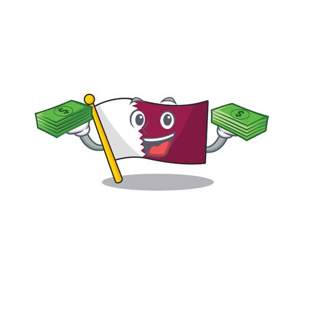 Very happy flag qatar Scroll character with money on hands