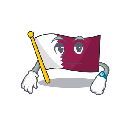 Waiting gesture flag qatar Scroll on cartoon character design